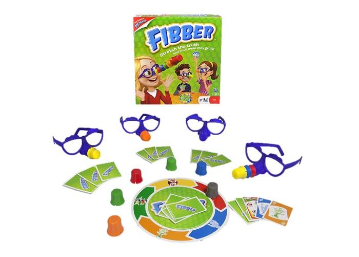Spin Master Настольная игра FibberНастольная игра FibberSpin Master Настольная игра Fibber достаточно простая и очень веселая, поэтому быстро всех увлечет и подойдет для игры всей семьей или с друзьями. Это карточная игра, где основное - поймать соперников на блефе.   Игра состоит из игрового поля с изображениями персонажей по краям, колоды карт с такими же персонажами и очки с искусственными носами. Как только вас поймали на попытке блефовать, Вы одеваете эти очки и при следующем проколе добавляете по одной насадке. С каждым разом нос становится все длиннее и длиннее. Побеждает тот игрок, у которого самый короткий нос.<br>