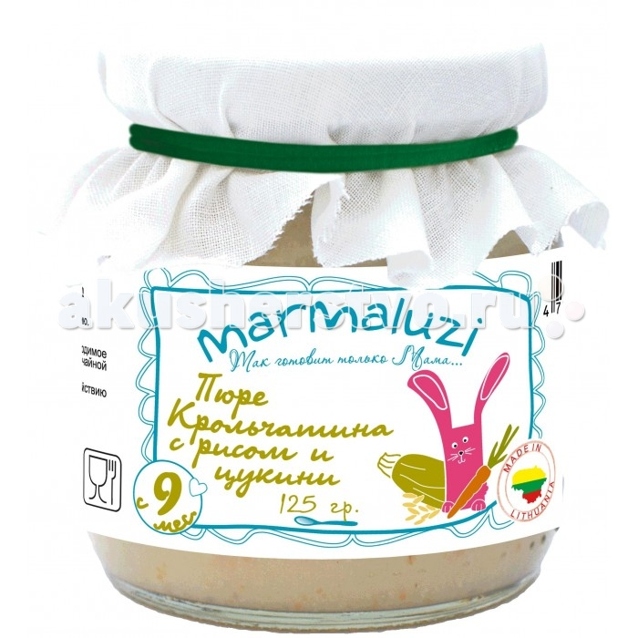 Marmaluzi Пюре крольчатина с рисом и цуккини с 9 мес. 125 гПюре крольчатина с рисом и цуккини с 9 мес. 125 гMarmaluzi Пюре крольчатина с рисом и цуккини - это вкусное сытное пюре из диетического мяса кролика, риса и нежного цуккини идеально сбалансировано для питания детей с 9 месяцев.   Особенности: 100% натуральный продукт  без ароматизаторов, красителей и консервантов - без глютена  без добавления соли, крахмала, сахара  без ГМО  продукт готов к употреблению  рекомендуется начинать кормление с 1 чайной ложки, постепенно увеличивая к 12 месяцам до 100 г в день   Состав: вода, крольчатина 12%, хлопья рисовые 10%, цуккини 7%, морковь 6%, рапсовое масло 1.3%, укроп.<br>
