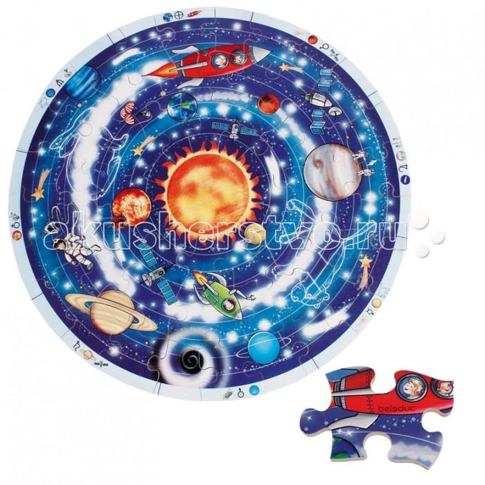 Beleduc Развивающий пазл ПланетыРазвивающий пазл ПланетыBeleduc Развивающий пазл Планеты - интересная и увлекательная игра для детей от 4-х лет.   Особенности: Игра предназначена, чтобы развить у ребенка мелкую моторику, координацию движений, внимательность, а также познакомит с устройством всей Солнечной системы. Этот пазл специально разработан для детей, так как состоит из ярких деталей, крупного размера, что позволяет безопасно использовать его с самого раннего возраста. Изготовлена игра из качественного материала, безопасного для детского организма. Круглый деревянный пазл, включает 49 частей<br>
