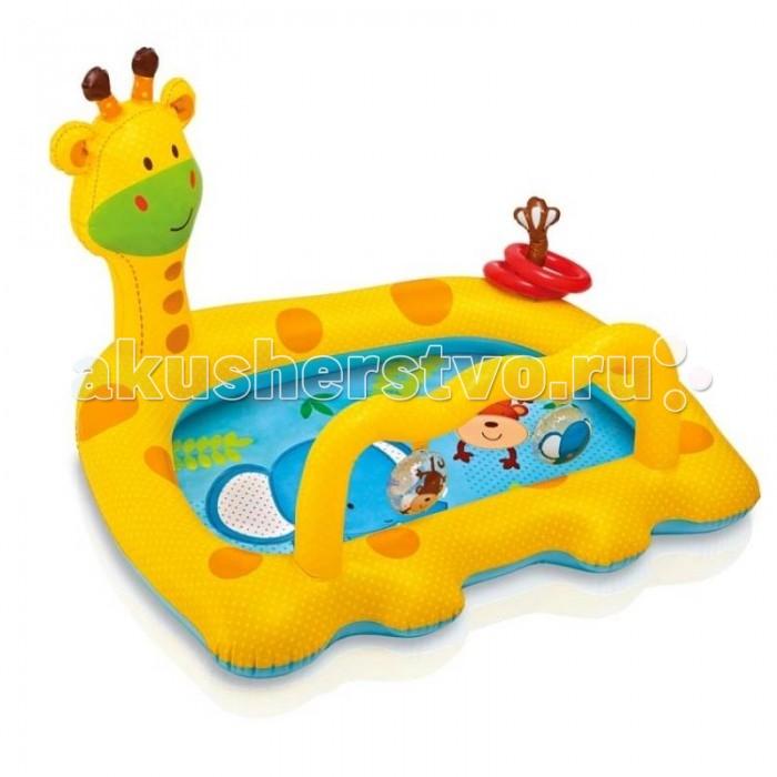 Бассейн Intex Жираф 111.5х91х72 смЖираф 111.5х91х72 смБассейн для детского купания в виде большого желтого жирафа от американской компании Intex подойдет для принятия ванн на свежем воздухе и игр в воде!   В нем малыш будет с удовольствием проводить время, плескаясь, развлекаясь с игровыми подвесками с изображением обезьянки и слоника и забрасывая колечки на хвост жирафика, развивая ловкость и меткость.   Бассейн изготовлен из прочного винила.  Размер: 111.5х91х72 см.  Вместимость бассейна: 53 л. Глубина воды при указанном объеме: 10 см  Вес: 1 кг.<br>