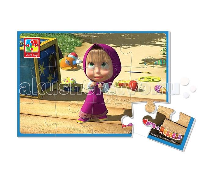 Vladi toys Мягкие пазлы Маша и Медведь А5 Маша 12 деталей