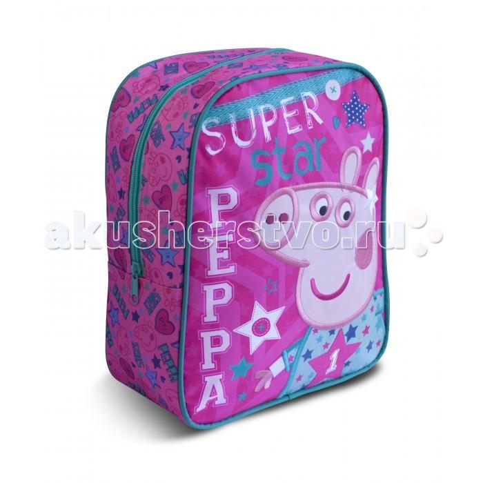Peppa Pig Рюкзачок средний Свинка Пеппа SuperstarРюкзачок средний Свинка Пеппа SuperstarЯркий и стильный рюкзачок Свинка Пеппа идеально подойдет вашей маленькой моднице. Удобный и вместительный, он обязательно пригодится для прогулок, занятий в кружке или спортивной секции. В его внутреннем отделении на молнии легко поместятся все необходимые вещи, в том числе предметы формата А4.   Мягкие регулируемые лямки берегут плечи малышки от натирания. Удобная ручка помогает носить аксессуар в руке или размещать на вешалке.   Изделие изготовлено из износостойкой, водонепроницаемой ткани, поэтому оно будет служить долгое время, сохраняя положенные в него вещи сухими даже в дождливую погоду.   Рюкзачок декорирован красивой аппликацией в виде Свинки Пеппы, вышивкой и ярким принтом (сублимированной печатью).   Размер: 30 х 25 х 12,5 см<br>