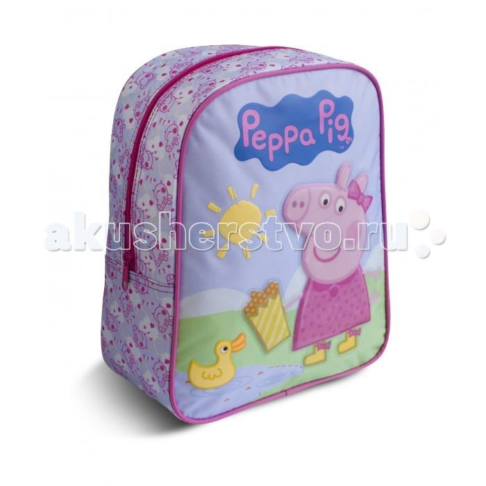 Peppa Pig Рюкзачок средний Свинка Пеппа УткаРюкзачок средний Свинка Пеппа УткаЯркий и стильный рюкзачок Свинка Пеппа идеально подойдет вашей маленькой моднице. Удобный и вместительный, он обязательно пригодится для прогулок, занятий в кружке или спортивной секции. В его внутреннем отделении на молнии легко поместятся все необходимые вещи, в том числе предметы формата А4.   Мягкие регулируемые лямки берегут плечи малышки от натирания. Удобная ручка помогает носить аксессуар в руке или размещать на вешалке.   Изделие изготовлено из износостойкой, водонепроницаемой ткани, поэтому оно будет служить долгое время, сохраняя положенные в него вещи сухими даже в дождливую погоду.   Рюкзачок декорирован объемной аппликацией PVC в виде Свинки Пеппы и ярким принтом (сублимированной печатью и пафф-принтингом).   Размер: 30 х 25 х 12,5 см<br>