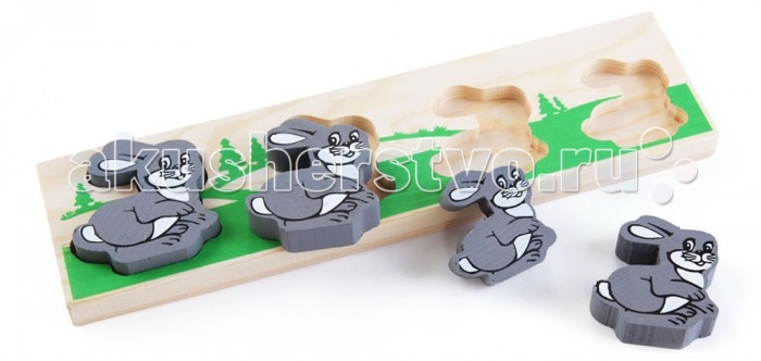 Деревянная игрушка Томик Доска-Вкладыш Зайка БМДоска-Вкладыш Зайка БМДоска-вкладыш Зайка БМ— это деревянная основа, вкоторой вырезано несколько углублений для фигурок различной формы. Задача ребенка — найти для каждой фигурки свое место.   Доска-вкладыш поможет малышу разобраться с понятиями больше-меньше.<br>