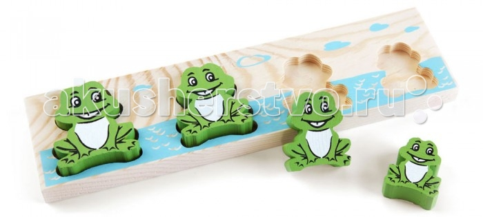 Деревянная игрушка Томик Доска-Вкладыш Лягушка БМДоска-Вкладыш Лягушка БМДоска-вкладыш Лягушка БМ— это деревянная основа, вкоторой вырезано несколько углублений для фигурок различной формы. Задача ребенка — найти для каждой фигурки свое место.   Доска-вкладыш поможет малышу разобраться с понятиями больше-меньше.<br>