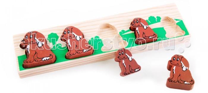 Деревянная игрушка Томик Доска-Вкладыш Собачка БМДоска-Вкладыш Собачка БМДоска-вкладыш Собачка БМ— это деревянная основа, вкоторой вырезано несколько углублений для фигурок различной формы. Задача ребенка — найти для каждой фигурки свое место.   Доска-вкладыш поможет малышу разобраться с понятиями больше-меньше.<br>