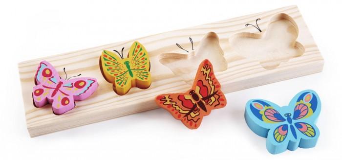 Деревянная игрушка Томик Доска-Вкладыш БабочкиДоска-Вкладыш БабочкиДоска-вкладыш Бабочки— это деревянная основа, вкоторой вырезано несколько углублений для фигурок различной формы. Задача ребенка — найти для каждой фигурки свое место.   Доска-вкладыш поможет малышу в изучении форм и цветов.<br>
