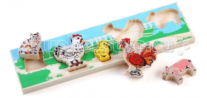 Деревянная игрушка Томик Доска-Вкладыш ДворДоска-Вкладыш ДворДоска-вкладыш Двор— это деревянная основа, вкоторой вырезано несколько углублений для фигурок различной формы. Задача ребенка — найти для каждой фигурки свое место.<br>