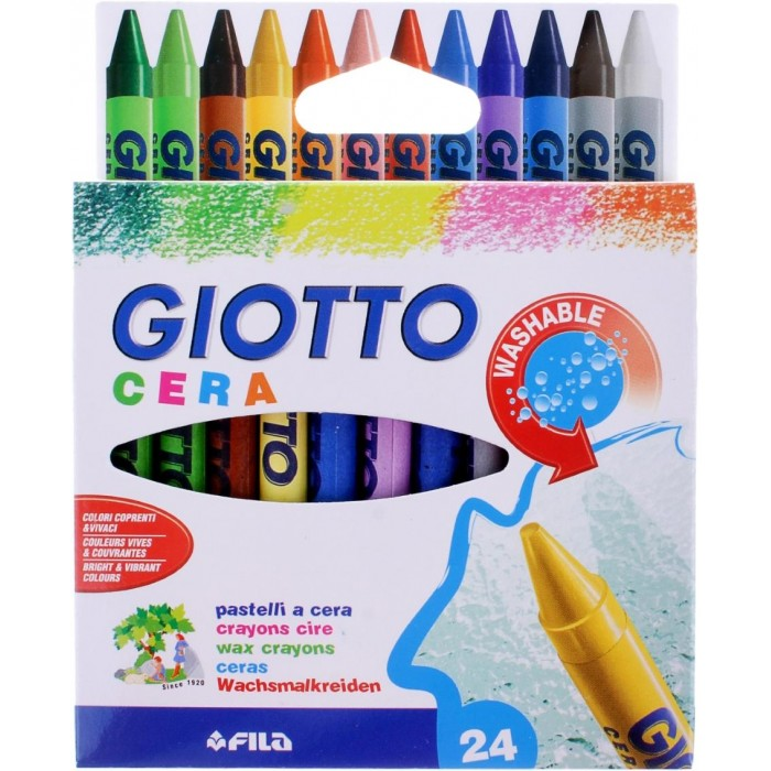 Giotto Восковые мелки Cera Ast 24 цветаВосковые мелки Cera Ast 24 цветаGiotto Cera, 24 цвета Восковые карандаши.  Восковые карандаши Glotto Cera прекрасно подойдут для развития детского творчества. Карандаши изготовлены на основе полимерных восков, натуральных наполнителей и высококачественных пигментов. Они не пачкаются, не ломаются, прочные, без запаха. Карандаши отличаются яркими и насыщенными цветами, позволяют проводить мягкие и ровные штрихи. Легко стираются, не оставляют следов, отстирываются.  Восковые карандаши помогут ребенку развить творческие способности, воображение, цветовосприятие, мелкую моторику рук, усидчивость и аккуратность. В комплекте 24 восковых карандаша, каждый из которых упакован с бумажную гильзу. Порадуйте своего ребенка таким восхитительным подарком!<br>