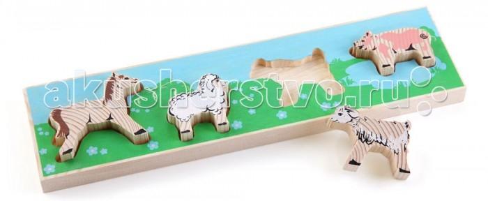 Деревянная игрушка Томик Доска-Вкладыш ЛужокДоска-Вкладыш ЛужокДоска-вкладыш Лужок— это деревянная основа, вкоторой вырезано несколько углублений для фигурок различной формы. Задача ребенка — найти для каждой фигурки свое место.<br>