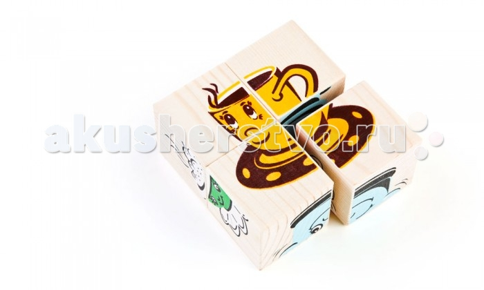 Деревянная игрушка Томик Кубики Посуда 4 шт.Кубики Посуда 4 шт.Кубики Посуда 4 шт.- это удобное пособие для развития зрительной памяти, логики и мелкой моторики у детей. Кубики могут служить и строительным материалом для замков и домиков.<br>