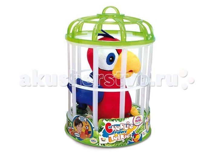 Интерактивная игрушка IMC toys Попугай CharlieПопугай CharlieИнтерактивная игрушка IMC toys Попугай Charlie может запоминать и повторять услышанные фразу совсем как настоящая птица.   Чарли можно посадить на плечо и ходить с ним - игрушка будет держаться на одежде, и время от времени произносить реплики, забавно шевеля при этом клювом.   Яркая красно-сине-желтая расцветка попугайчика соответствует обычной тропической окраске некоторых видов этих сообразительных птиц.   К попугайчику прилагается симпатичная пластиковая клетка с цветным верхом. Чарли можно поместить в нее и взять с собой на прогулку или в гости.   Игрушка изготовлена из приятного на ощупь плюша, ее большие выразительные глаза вышиты нитками, поэтому Чарли подходит и для самых маленьких детей.<br>