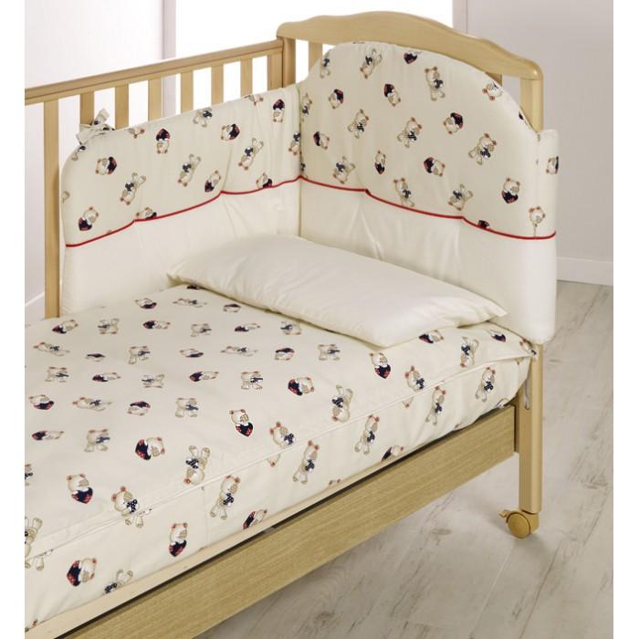 Комплект для кроватки Italbaby Teddy (5 предметов)Teddy (5 предметов)Белье Teddy (5 предметов) прекрасно подойдет для детской мебели ItalBaby. Гипоаллергенно, сертифицировано, стирка в стиральной машине.  Комплект может быть дополнен фирменными аксессуарами: колыбель, конверт на молнии, настольный абажур, плетеная корзина для аксессуаров, корзина для переноски.   Комплект из 5 предметов:  бампер простынь на резинке наволочка одеяло  пододеяльник  Состав: 100% хлопок.  Общие размеры: одеяло, пододеяльник (дхш) 130х100 см наволочки (дхш) 40х60 см<br>