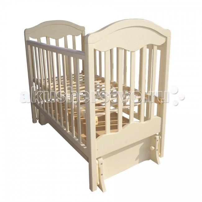 Детская кроватка Ивашка Мой малыш 11 (маятник универсальный)Мой малыш 11 (маятник универсальный)Кроватка детская Ивашка Мой малыш 11 выполнена из экологичных, гипоаллергенных материалов. Кроватка обладает высоким качеством и комфортом, как для ребенка, так и для родителей. Благодаря современному дизайну и спокойной, мягкой расцветке она впишется в интерьер любой спальни или детской комнаты.  Кровать изготовлена из массива березы Механизм маятника продольный/поперечный Положение боковой планки регулируется опускающимся устройством Боковая стенка съемная Специальная защитная накладка на бортиках Есть фиксатор, предотвращающий раскачивание кроватки Двойной уровень поддона Ящик на роликовых направляющих с системой блокировки от выпадения Ящик сверху закрыт фанерой  Внутренний размер 120х60 см<br>
