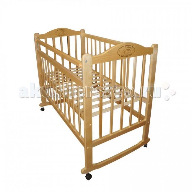 Детская кроватка Ивашка Мой малыш 4 (колесо-качалка)Мой малыш 4 (колесо-качалка)Кроватка детская Ивашка Мой малыш 4 выполнена из экологичных, гипоаллергенных материалов. Кроватка обладает высоким качеством и комфортом, как для ребенка, так и для родителей. Благодаря современному дизайну и спокойной, мягкой расцветке она впишется в интерьер любой спальни или детской комнаты.  Кровать изготовлена из массива березы Имеются полозья для качания, также можно установить колесики для удобства перемещения кровати по квартире Положение боковой планки регулируется опускающимся устройством Боковая стенка съемная Специальная защитная накладка на бортиках Двойной уровень поддона Днище - реечное  Внутренний размер 120х60 см Размеры (ШxДxВ) 70x125x109 см<br>