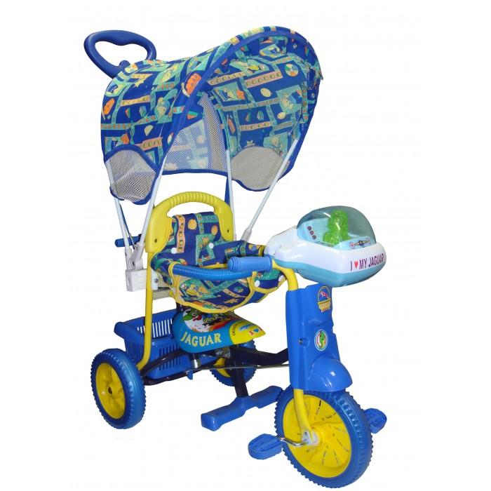 Велосипед трехколесный Jaguar MS-0547MS-0547Трехколесный велосипед Jaguar MS-0547 для детей на возраст от 9 месяцев до 2 лет.  Благодаря наличию съемной крыши-тента данный велосипед прекрасно подойдет для прогулок в солнечную яркую погоду.  Колеса из вспененного материала обеспечат плавное, легкое движение практически по любой дороге.   Комплектация: Большая музыкальная панель Ручка управляющая передним колесом Мягкая резина Корзинка  Страховочный обод и сетка Подножка Тент Регулировка седла<br>