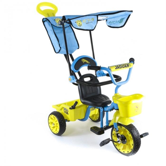 Велосипед трехколесный Jaguar MS-0577MS-0577Трехколесный велосипед Jaguar MS-0577 для детей на возраст от 9 месяцев до 2 лет.  Комплектация: - Тент - Багажник-самосвал - Улучшенная ручка управляющая передним колесом - Передняя корзинка - Подножка - Сиденье со спинкой и складным страховочным ободом - Облегченная конструкция рамы - Широкие резиновые колеса - Сумка - Регулировка седла и руля.<br>