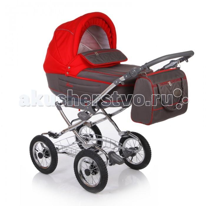 Коляска Jetem Laura 2 в 1Laura 2 в 1Удобная детская коляска 2 в 1 Jetem Laura на класcической раме подойдет как для лета, так и для зимы. Коляска отличается отличной проходимостью и мягкой амортизацией. Предназначена для детей от 0 до 3 лет.  В комплекте:  шасси люлька с матрасиком прогулочный блок капюшон (общий для люльки и сиденья) чехол на ножки сумка для мамы с матрасиком для пеленания москитная сетка дождевик  Основные характеристики коляски Jetem Laura:  Люлька:  Для детей от 0 до 6-8 месяцев; Теплая, закрытая люлька достаточно большого размера, подойдет не только для летнего периода, но и для холодной зимы; Короб с платиковым днищем; Спинка внутри люльки регулируется; Съемная х/б подкладка люльки с возможностью стирки; Поролоновый матрасик; Большой съёмный капюшон с москитной сеткой в отстёгиваемом сегменте обивки; Съёмный утеплённый чехол люльки; Удобная ручка для переноски встроена в капор, обтянута эко-кожей;  Прогулочный блок:  Для детей от 6 месяцев и примерно до 3-х лет; Сиденье ставится на раму в 2-х направлениях: по ходу движения, против хода движения; Спинка регулируется до горизонтального положения; Удобное, широкое посадочное место; Подножка регулируется; Встроенные пятиточечные ренми безопасности удержат маленького непоседу в коляске; Бампер съемный; Капор общий для люльки и сиденья;  Шасси:  Алюминиевая хромированная рама; Удобная цельная ручка с обивкой из эко-кожи; Ручку можно отрегулировать по высоте под свой рост; Надувные 12-ти дюймовые колеса на спицах обеспечивают отличный ход по любым дорогам и бездорожью; Мягкая подвеска передней и задней оси; Механизм сложения - «книжка»; Надежный тормоз на задней оси; В основании шасси размещена металлическая корзина для вещей.  Размеры и вес коляски: Размеры люльки 76x35x23 см Размеры коляски 85x58x130 см Размеры в сложенном виде 76x48x27 см Размеры прогулочного блока 90x35x65 см Ширина шасси 60 см Вес 17 кг<br>