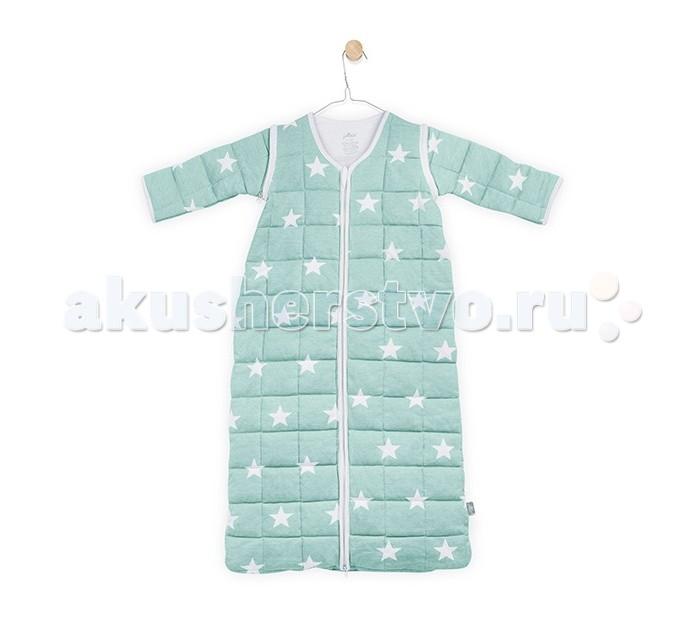 Спальный конверт Jollein со съемными рукавами Little star 110 смсо съемными рукавами Little star 110 смСпальный конверт Jollein со съемными рукавами Little star 110 см - это очень практичная замена одеялу.   Особенности: Малыш не сможет сбросить с себя, или наоборот закрыть себя с головой, что происходит, когда малыша накрывают одеялом. Малышу будет всегда комфортно и тепло в прохладное ночное время. Спальные мешки предотвращают риски удушения.  Удобные просторные формы позволят малышу занять привычную для сна позу. Различные варианты исполнения и материалы позволяют использовать спальник для новорожденного и летом, и зимой.  Удобные замочки по всей длине спального мешка позволяют менять подгузники, не снимая сам спальный мешок.  Нахождение в спальнике напоминает ребенку его ощущения в перинатальный период. Это способствует спокойному сну малыша, дает ему чувство защищенности. Спальный мешок сделан из 100% хлопка с тонким утеплителем. Очень мягкий и легкий, молния застегивается сверху вниз, что позволяет легко менять подгузники, не снимая мешочек.  Подойдет для использования в прохладную температуру. Тог 2,2 – коэффициент тепла, температура использования – 18 гр-22 г.  Регулировать температуру можно  нательным бельем (например, добавить боди, пижаму, комбинезон).<br>