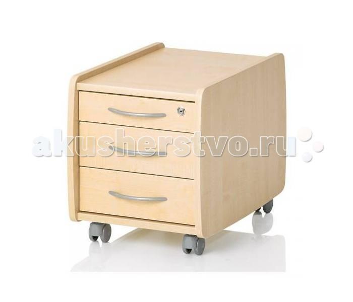 Комод Kettler Logo Trio Box тумба подкатнаяLogo Trio Box тумба подкатнаяСтол конечно столом, но мамам всегда не нравится беспорядок. Так что оставить всё просто до завтра лежать на столе не получится. А куда это всё спрятать, что бы оно не «мозолило» глаз и не съезжало на пол с наклонной поверхности? Вот тут на помощь придёт вместительные тумбы для стола с двумя или тремя выдвижными ящиками. Верхний ящик запирается на замок от любопытных взглядов братиков и сестричек.   Если положить на тумбу сверху специально предназначенную для этого подушку, то получится замечательное сидячее место, которое можно перемещать по желанию на любое удобное место, благодаря подвижным роликам. Только не вздумайте устроить гонки по дому. Родителям это не понравится. Различные цвета прилагаемых грифов могут произвольно комбинироваться в соответствии с дизайном Вашего интерьера.  Характеристики: продуманный, лаконичный дизайн - идеально вписывается в любой интерьер тщательно проработанная конструкция и отработанная технология производства три выдвижных ящика верхний ящик запирается на замок от любопытных взглядов братиков и сестричек если положить на тумбу сверху специально предназначенную для этого подушку (приобретается отдельно), то получится замечательное сидячее место, которое можно перемещать по желанию на любое удобное место, благодаря подвижным роликам  Размеры (гхвхш) 57х46х40 см<br>