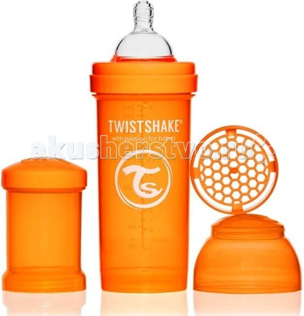 Бутылочка Twistshake с контейнером 260 млс контейнером 260 млБутылочка Twistshake с контейнером для сухой смеси и соской.  Современные родители, которые хотя бы раз сталкивались с приготовлением молочной смеси для малыша знают, что добиться однородности и отсутствия комочков в смеси очень нелегко. Twistshake решает эту проблему раз и навсегда. Уникальная особенность бутылочек Twistshake - наличие специального шейкера, который тщательно разбивает молочную смесь.  Все бутылочки Twistshake имеют антиколиковые соски, специальный клапан которых предотвращает попадание лишнего воздуха и снижает вероятность возникновения колик у малыша.   В комплекте каждой бутылочки имеется контейнер для сухой смеси. Он незаменим в дороге, ведь смесь нужно готовить непосредственно перед употреблением, а не заранее. Также контейнер можно использовать и для транспортировки детского питания или снеков. Баночки соединяются между собой, что экономит место и очень нравится детям.   Бутылочки Twistshake выполнены в ярких сочных цветах. Поэтому это не только необходимый аксессуар для кормления ребенка, но и модный атрибут образа мамы. А как понравятся подрастающему и сделавшему первые шаги ребенку эти лиловые, зеленые, голубые и оранжевые оттенки!  Все бутылочки и соски Twistshake соответствуют европейскому стандарту качества EN-14359.  В комплекте: бутылочка объемом 260 мл с соской с медленным потоком 2+, контейнер для хранения сухой смеси объемом 100 мл.  Особенности: Соски исключительно физиологичны благодаря широкой форме и ребрам жесткости; Специальный клапан исключает попадание лишнего воздуха во время кормления, снижая вероятность возникновения колик у детей; Бутылочки представлены в объемах 180, 260 и 330 мл; Фильтр для лучшего растворения смеси и разбивания комочков; В комплекте контейнер для хранения сухой смеси объемом 100 мл; Крышечка для чистоты и гигиены соски; Не содержит Бисфенол А.<br>