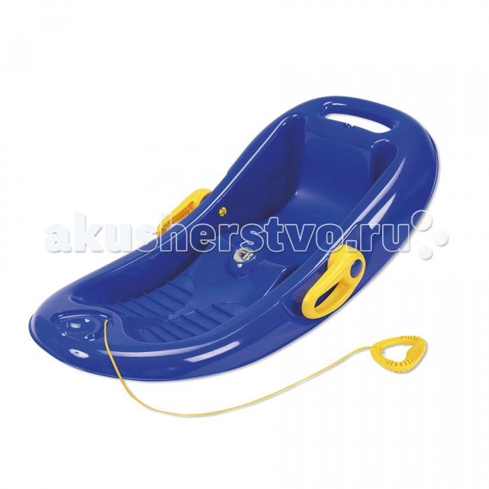 Санки KHW Snow Flipper de luxeSnow Flipper de luxeСанки Snow Flipper De Luxe фирмы KHW для детей разных возрастов с тормозной системой и высокими бортиками; рельефная поверхность для ног предотвращает скольжение.   Большим плюсом санок является наличие тормозной системы, используя которую, ребёнок может в любой момент остановиться. Такая система даст возможность избежать переворачивания санок на неровных спусках.  Нескользящая рельефная поверхность для ног обеспечивает дополнительную безопасность и надёжную фиксацию. Для более комфортного катания в снаряде предусмотрена удобная поднимающаяся спинка.  Маленьких детей родители могут катать на санках, везя их за собой при помощи прочной верёвки, которая крепится за переднюю часть санок.  Чтобы верёвка не врезалась в руки, её оснастили специальной удобной ручкой, изготовленной из пластика. Для изготовления этого зимнего снаряда применяется прочный пластик высшего качества.  Он абсолютно безвреден для здоровья человека, так как не имеет в своем составе каких-либо ядовитых или токсичных веществ, это доказывает наличие сертификата СЕ на данную модель.   Размер: 95х51х25 см. Вес (г): 2,5 кг.  Максимальная нагрузка (кг): 70.  Сертифицированы: CE.<br>