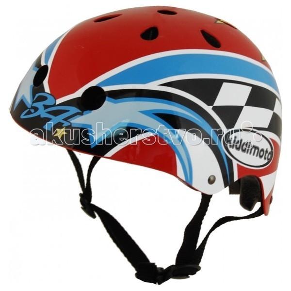 Kiddi Moto Шлем Kevin Schwantz с автографом гонщикаШлем Kevin Schwantz с автографом гонщикаШлем – лучший головной убор велосипедиста!  Даже небольшое падение может закончиться тяжелыми последствиями, если ребенок ударится головой.  Надежной защитой головы от ударов служит велосипедный шлем. Благодаря шлему поверхность удара увеличивается, а шлем вместо головы принимает всю силу удара на себя. Защитный шлем специально разработан, чтобы защитить голову ребенка и лоб от тяжелых травм при падениях.  Рекомендуется всегда одевать шлем во время катания ребенка на велосипеде, самокате, роликовых коньках, скейте.  Надежную защиту велосипедиста от ударов головой дает шлем, проверенный и сертифицированный по стандарту CE. Шлем должен использоваться по назначению! Ребенок не должен заниматься играми и лазаньем в защитном шлеме, так как, падая, он может зацепиться и повиснуть на ремне шлема. Застежка шлема не предназначена для автоматического открывания, в результате чего может наступить удушье. Ребенок, находящийся в шлеме, не должен оставаться без присмотра взрослого человека. После езды на детском транспорте необходимо снять защитный шлем.  Шлем должен плотно держаться на голове ребенка в момент падения или другого происшествия. Поэтому важно подобрать ребенку шлем правильного размера. Шлем можно подогнать под голову ребенка с помощью мягких прокладок внутри шлема. Шлем надевают до уровня бровей так, чтобы он защищал виски и лоб, на которые обычно приходится удар при падении. Затем регулируют стропы. Стропы натянуты правильно, когда палец взрослого проходит между подбородком ребенка и стропами шлема и когда шлем плотно держится при наклоне головы вперед.  Характеристики шлема: сверхлегкий корпус шлема сделан из специального прочного ABC-пластика внутренний корпус из EPS пены со съемной амортизирующей подкладкой соответствует стандартам ASTM F 1447, ANSI Z90-4, CPSC и CE для велосипедных шлемов удобная посадка - размер шлема легко регулируется на затылке с помощью притяжного к