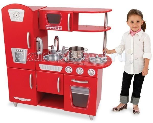 KidKraft Детская игрушечная кухня из дерева ВинтажДетская игрушечная кухня из дерева ВинтажKidKraft Детская игрушечная кухня из дерева Винтаж. Какая девочка не мечтает о своей собственной кухне, пусть даже игрушечной?  Игрушечная кухня Винтаж Kidkraft будет самым удачным подарком для вашей дочки.  Кухня состоит из газовой плиты, духовки, микроволновой печи, мойки для посуды, холодильника и морозильной камеры. Верхняя и нижняя часть комплекта дополнены полочками.   В стильном дизайне игровой кухни отсутствуют прямые линии и острые углы. Все дверцы в наборе могут открываться, как настоящие, а ручки включения духовки и печи поворачиваются.   Дизайн игрушечной кухни, выполненный в красных, розовых и белых цветах из дерева и качественного пластика, весьма выгодно вписывается в современные интерьеры детских комнат или игровых.  Детская кухня, несомненно, понравится юной хозяйке.<br>