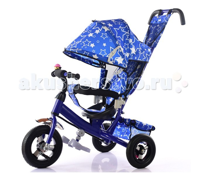 """Велосипед трехколесный KidsCool HP-TC-701 надувные колесаHP-TC-701 надувные колесаДетский трехколесный велосипед HP-TC-701 надувные колеса с ручкой толкателем и капюшоном.  Характеристики: Ручка управления движением позволяет родителям одной рукой контролировать поездку и управлять велосипедом; защитный разъёмный поручень; складывающиеся подножки; складывающийся двух сегментный капюшон  Спинка с регулировкой угла наклона, 3 положения; удобные не проскальзывающие педали из рифленого пластика; металлическая хромированная ручка; эргономичное и удобное сиденье с мягкой тканевой подушкой; две мягкие подушечки на спинке; возможность блокировки задних колеса; тканевая багажная корзина для вещей и игрушек; колёса 10""""/8"""" хромированные алюминиевые диски.<br>"""
