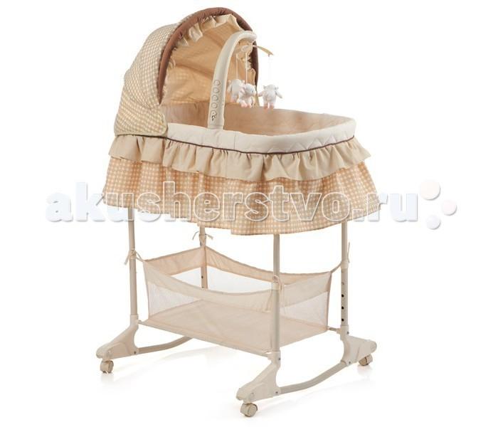 Колыбель Kitan FlamingoFlamingoKitan Колыбель Flamingo   Музыкальная детская многофункциональная кроватка-люлька, предназначена для детей от рождения до 6-ти месячного возраста.  складной капюшон ночную подсветку вращающуюся подвеску с игрушками вибро регулирующуюся корзину для мелочей колеса с возможностью блокировки. Тип кроватки: колыбель Материал: металл, пластик, ткань Качание: полозья Боковая стенка: неопускаемая Ложе: сплошное Уровни подматрасника: 5 Длина спального места: 80 см Ширина спального места: 43 см Длина: 89 см Ширина: 73 см Высота: 77 см<br>
