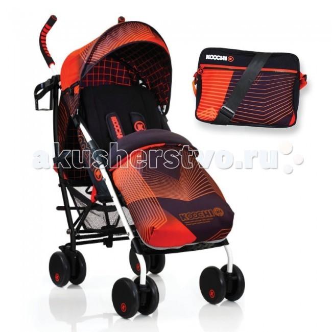 Коляска-трость Koochi SpeedstarSpeedstarЯркая коляска-трость Speedstar для малышей до 3 лет. Не занимает много места при хранении благодаря возможности складываться по типу «зонтик» с автоматической блокировкой.  Различные позиции наклона спинки создадут комфортные условия для сна ребенка на свежем воздухе.  Приятным дополнением будет множество аксессуаров в комплекте: сумка для мамы через плечо, цветовая маркировка обода колёс, спортивные ручки двух оттенков, держатель для чашки, складывающийся капюшон коляски и чехол для ножек.  Характеристики:  Для детей до 3 лет Максимальная нагрузка на коляску - 15 кг Чехол для ножек на флисовой подкладке, на молнии Компактное складывание коляски по типу «зонтик» с автоматической блокировкой Легкий вес коляски Передняя и задняя подвеска Передние колеса коляски фиксируемые Множество позиций наклона спинки коляски В комплекте коляски съемный капюшон, дождевик, сумка для мамы и подстаканник Съемные 5-точечные ремни безопасности с подушечками Большая просторная корзина для покупок Коляска соответствует EN1888: 2012  Размеры и вес:  Размер в собранном виде(Д х Ш х В), см: 84 х 47 х 107 Размер в сложенном состоянии (Д х Ш х В), см: 31 х 29 х 106 Вес коляски-трости Speedstar: 7 кг<br>