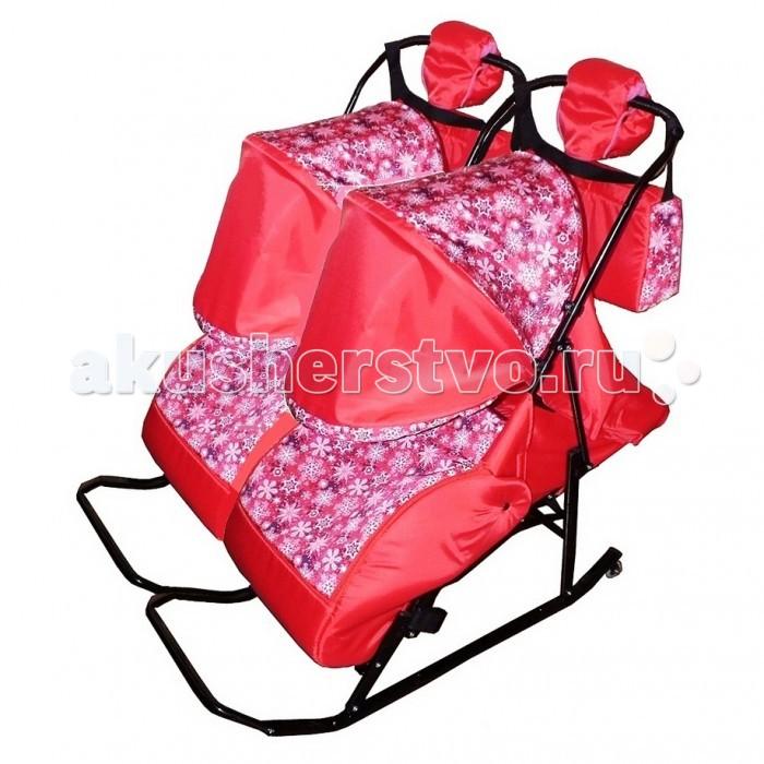 Санки-коляска Kristy Comfort Снежинки для двойни