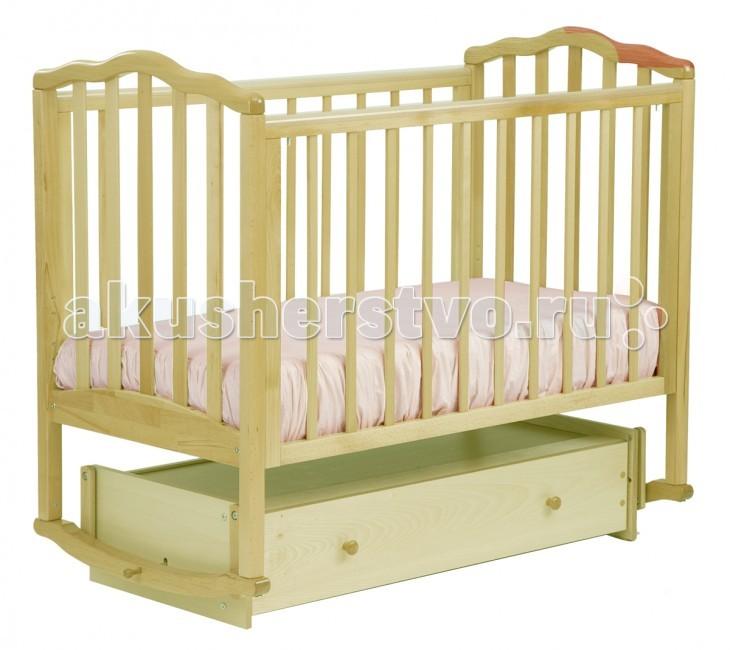Детская кроватка Кубаньлесстрой АБ 19.4 Жасмин маятник универсальный с ящиком