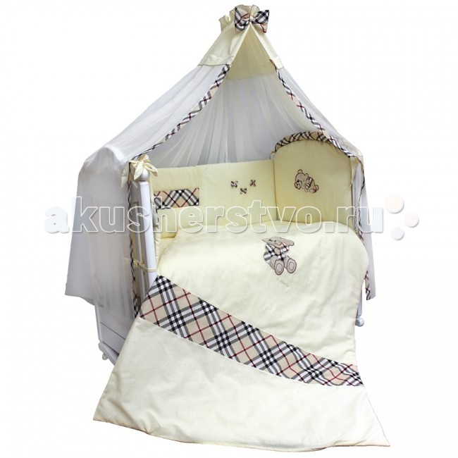 Комплект в кроватку Labeille Burberry (7 предметов)Burberry (7 предметов)Самый эффектный комплект коллекции. Невероятное дизайнерское решение нашло отражении в комплекте постельного белья Burberry. Сочетание клетки и вышивки 3Д на светлом фоне делают этот комплект потрясающе красивым. Выполненный из натуральной ткани, украшенный бантиками и вышивкой, он будет удобен и комфортен в использовании. Вручите своему ребенку красоту.   Качественная натуральная ткань, используемая при отшиве комплекта, от стирок не потеряет своего внешнего вида и долго будет радовать Вас и Вашего малыша красивым оригинальным дизайном. Внутренняя вставка бампера выполнена из антиаллергенного материала Холкона – это синтетический утеплитель , который является очень прочным и быстро восстанавливает объем. Так же он не поглощает влагу и не накапливает в себе болезнетворные бактерии. Мы выбрали один из лучших и безопасных для здоровья детей материалов при изготовлении наполнителя для бамперов.  Комплект состоит из 7 предметов: балдахин 1.75 х 4.0 м бампер защитный 3.6 х 0.4 м подушка 0.4 х 0.6 м наволочка 0.4 х 0.6 м простыня 0.98 х 1.45 м одеяло 1.06 х 1.42 м пододеяльник 1.08 х 1.45 м  Наполнитель: холлкон гипоаллергенный, всесезонный Материал: бязь, вуаль<br>
