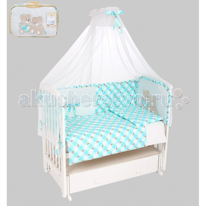 Комплект в кроватку Leader Kids Медвежата (7 предметов)Медвежата (7 предметов)Комплект в кроватку 7-ми предм. Медвежата   Качественное правильно подобранное постельное белье - это залог крепкого сна ребенка и его хорошего самочувствия. Но постельное белье может при этом быть еще и красивым!  Этот набор выполнен из высококачественного гипоаллергенного материала - хлопка. Он приятен на ощупь, позволяет коже дышать, безопасен для детей.   В этот комплект входят семь предметов для удобного сна и декорирования кроватки (бампер, одеяло, подушка, балдахин, наволочка, пододеяльник, простыня на резинке).   Размер их - стандартный, всё удобно заправляется. Изделие имеет приятную расцветку, декорировано симпатичным принтом. Подойдет к интерьеру различной расцветки.  Характеристики: материал: хлопок 100%; комплектация: 7 предметов; бампер: 360x40 см; одеяло: 90х120 см; подушка: 40х60 см; балдахин: 420х165 см - вуаль; наволочка: 40x60 см; пододеяльник: 90x120 см; простыня на резинке: 90x150 см;<br>