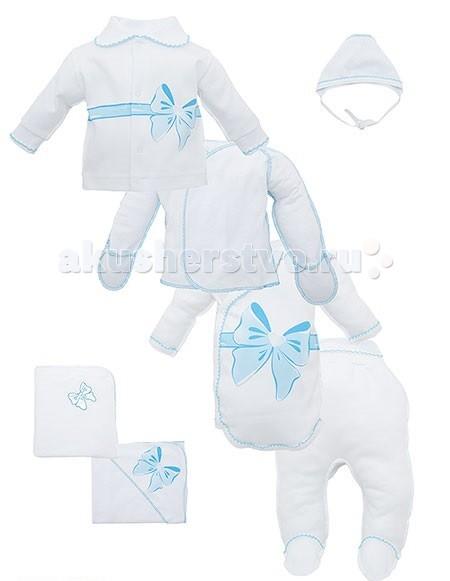 Комплект на выписку Лео Бант (7 предметов) - ЛеоБант (7 предметов)Замечательный комплект детской одежды и предметов ухода. В комплект входят: боди, распашонка, кофточка, ползунки, чепчик, пеленка и одеяло. Все изделия выполнены из натурального хлопкового материала и оформлены в едином стиле.  В комплекте: плед распашонка пеленка ползунки шапочка кофточка боди  Состав: 100% хлопок  Размер 62<br>