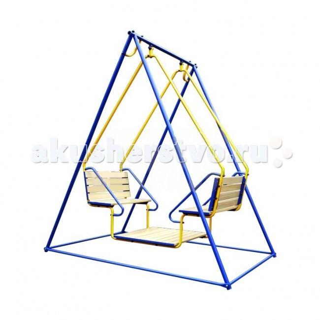 Качели Лидер 22Качели уличные Лидер 2 вы можете установить на своём участке. Качели разборные, могут разбираться на зиму. Ноги качелей крепятся к бетонируемым в земле «стаканам». Глубина заглубления опор в землю составляет 35 см. Ноги к стаканам крепятся болтами. Качели занимают площадку 3 м2.  Металлические элементы окрашены порошковой эмалью, сиденье качелей выполнено из прочной окрашенной фанеры.  Качели крепятся на подшипниках. Подвес на подшипниках предпочтительнее, чем на болтах, поскольку имеет меньший люфт, не изнашивается, не скрипит, имеет увеличенную допустимую нагрузку.  Крепление: цементируются «стаканы», в которые устанавливаются стойки ДСК Высота дачного комплекса: 2.40 м Занимаемая площадь: 1.90 х 1.55 м Допустимая нагрузка: 100 кг Комплектация комплекса: качели со спинкой на подшипниках<br>