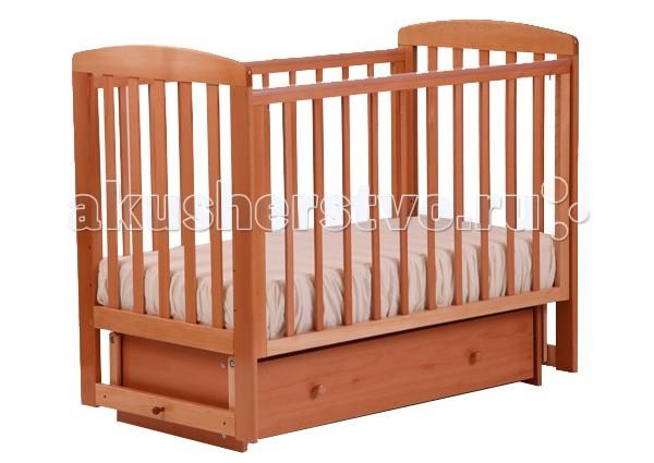 Детская кроватка Кубаньлесстрой АБ 16.2 Ромашка маятник поперечный с ящиком - Натуральный