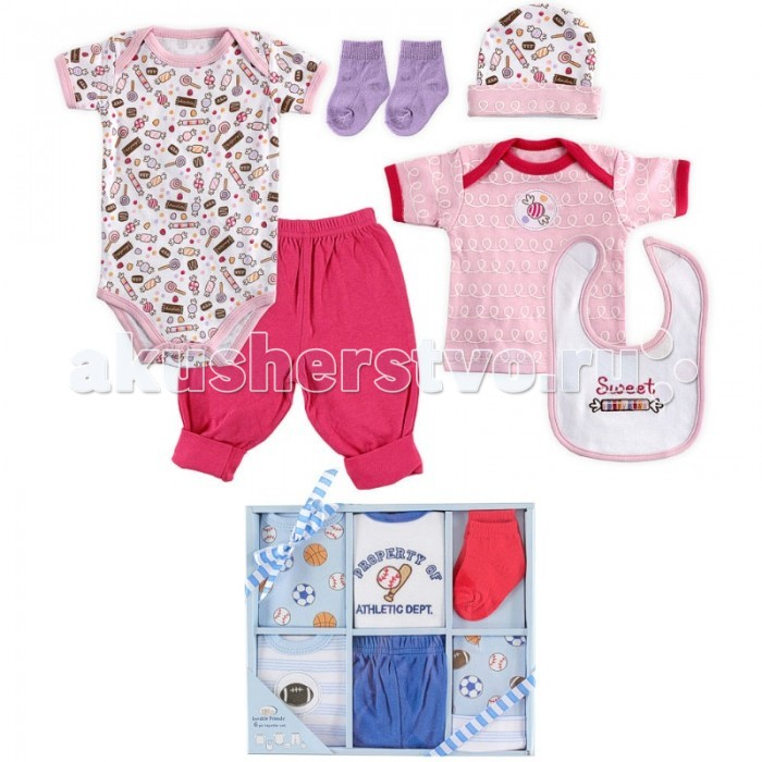 Luvable Friends Подарочный набор одежды 07124 55-67 (6 предметов)Подарочный набор одежды 07124 55-67 (6 предметов)Luvable Friends Подарочный набор включает шесть основных предметов гардероба новорожденного. Комплект поставляется в красивой подарочной упаковке с ленточкой.  В комплекте: боди к/р футболка к/р штанишки шапочка носочки нагрудник  Уход: Стирка при t не более 40С. Не отбеливать. Гладить при t не более 110С. Сушка в барабане при более низкой t.<br>