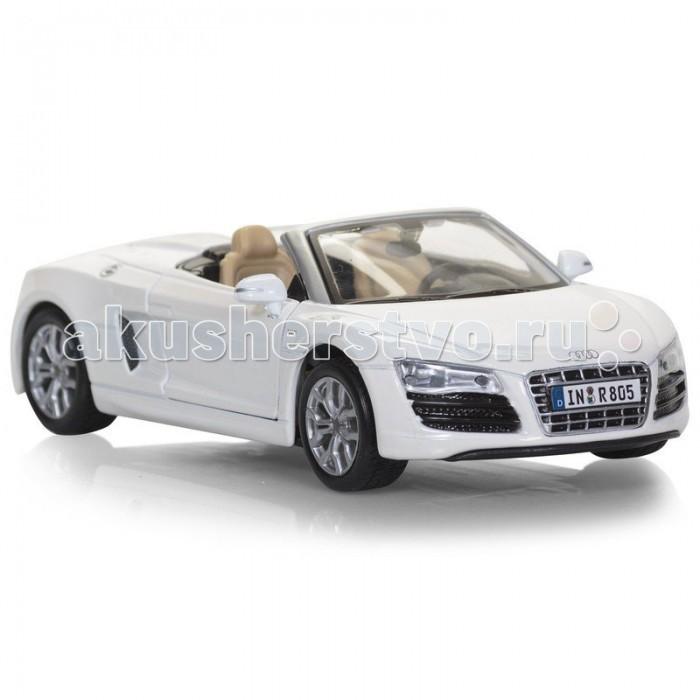 Maisto Автомобиль Audi R8 SpyderАвтомобиль Audi R8 SpyderАвтомодель Maisto Audi R8 Spyder - высококачественная коллекционная модель реального автомобиля в масштабе 1:24.    Особенности:   У автомодели литой металлический корпус с высокой детализацией двигателя, интерьера салона, дисков, протекторов и выхлопной системы  У машинки открываются двери, капот, багажник  Колеса амортизированы  Есть специальная пластиковая подставка для авто  Материал автомобиля металл с пластиковыми частями<br>