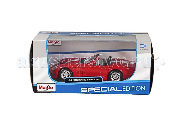 Maisto Автомобиль Шелби Series 1999Автомобиль Шелби Series 1999Автомодель Maisto Шелби Series 1999 - высококачественная коллекционная модель реального автомобиля в масштабе 1:24.    Особенности:   У автомодели литой металлический корпус с высокой детализацией двигателя, интерьера салона, дисков, протекторов и выхлопной системы  У машинки открываются двери, капот, багажник  Колеса амортизированы  Есть специальная пластиковая подставка для авто  Материал автомобиля металл с пластиковыми частями<br>