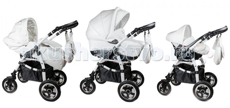 Коляска Makaby 3 в 13 в 1Универсальная детская коляска Makaby 3 в 1 изготовлена в современном дизайне и является оптимальным решением для прогулок в любой сезон года.   Основные преимущества данной коляски - это ее практичность и универсальность.  Люлька для новорожденного: Размеры люльки (ДхШхВ) - 81х39х26 см. Люлька выполнена из эко-кожи. Внутренняя обшивка выполнена из хлопка, легко снимается и подходит для машинной стирки. Есть ручка для переноски. Установка по ходу движения и против движения. Функция шестиуровневой регулировки изголовья. При необходимости люльку можно сложить.  Прогулочный блок: Установка по ходу движения и против движения. Выполнен из эко-кожи. Спинка откидывается до лежачего положения (180 С). Регулируемая подножка. Установка защитного бампера в нескольких положениях. 5-ти точечный ремень безопасности.  Автокресло: Установка по ходу движения и против движения. Выполнено из эко-кожи. Ремни безопасности с мягкими накладками. Можно использовать для переноски в руках. В комплект входит капор и накидка на ножки.  Шасси: длина шасси - 86 см. высота (по ручке): min - 80 см, max - 120 см. ширина - 60 см. (между колес 50 см). надувные колеса диаметр колес: передние - 26 см., задние - 31 см. высота подножки - 34 см.  Комплектация: шасси люлька для новорожденного прогулочный блок автокресло база для установки автокресла на шасси корзина для покупок сумка для мамы дождевик москитная сетка<br>