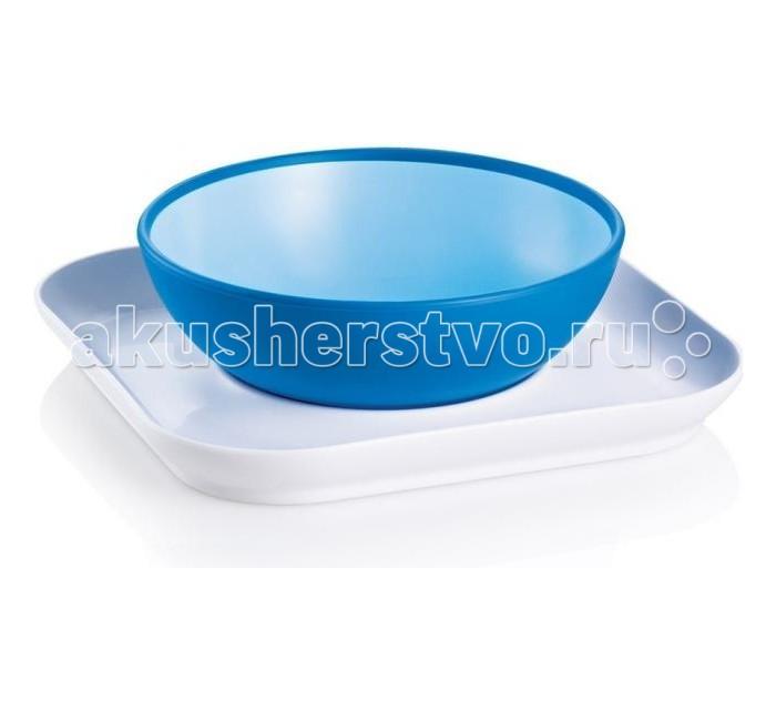 MAM Набор тарелок Babys bowl&amp; plate 6+Набор тарелок Babys bowl&amp; plate 6+Удобная посуда Babys bowl& plate от фирмы MAM не только понравиться, но и помогут вашему малышу освоиться в мире. Так, благодаря первому шагу – плоской тарелке, которая удерживает глубокую тарелку от опрокидывания, ребенок сможет научиться правильно есть самостоятельно ложкой. При этом после того как малыш приобрел это умение, он переходит на следующий шаг и сможет есть самостоятельно из плоской тарелки.  Специальное противоскользящее покрытие сделает процесс еды простым и интересным.<br>