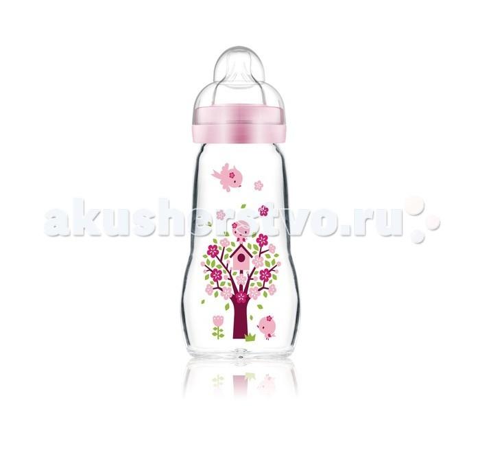 Бутылочка MAM Feel Good Bottle стекло Anti-Colic 260 млFeel Good Bottle стекло Anti-Colic 260 млС бутылочкой Anti-Colic даже новорожденный малыш чувствует себя прекрасно.   Стеклянная бутылочка MAM Feel Good изготавливается из термостойкого стекла класса премиум: так что ее можно нагревать без опасений, она быстро охлаждается, ее можно мыть в посудомоечной машине и стерилизовать при высокой температуре.  На задней части бутылочки имеется отчетливая шкала, позволяющая производить точное дозирование.  Ее можно в любой момент простерилизовать в микроволновой печи – быстро и без дополнительного стерилизатора. Для этого достаточно налить чуть-чуть воды, поставить в микроволновую печь на несколько минут. И всё – бутылочка стерильно чиста!  Специалисты MAM разработали соску, с которой переключение между мамой и МАМ происходит особенно легко. Потому что она осязается как шелковисто-мягкая и приятная, нет ничего лучше ее после мамы. В этом и заключается уникальность MAM Silk Teat®.  Эргономичная форма – бутылочку удобно держать. Очень широкое отверстие – в бутылочку легко наливать жидкость, ее удобно чистить. MAM Silk Teat® – шелковисто-мягкая поверхность, удобство в использовании.<br>