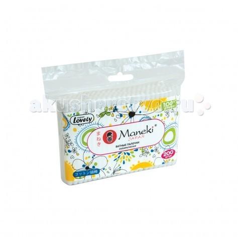 Maneki Lovely Палочки ватные 200 шт.Lovely Палочки ватные 200 шт.Maneki Lovely Палочки ватные   Особенности: 100% хлопок высшего качества  надежная фиксация аппликатора идеальны для гигиенических и косметических целей упаковка с zip-замком<br>