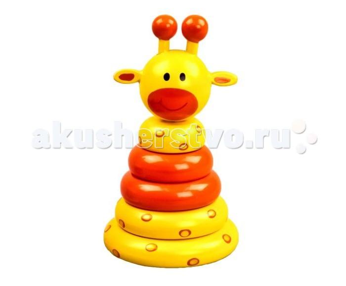 Деревянная игрушка Mapacha Пирамидка ЖирафикПирамидка ЖирафикДеревянная игрушка Mapacha Пирамидка Жирафик представляет собой забавную игрушку, которую малыш будет собирать из колец.   Особенности: Деревянная пирамидка с яркими кольцами и штырьком на устойчивом основании. Цель игры - нанизать разноцветные кольца на стержень.  Верхушка пирамидки сделана в виде головы жирафа.  Такая игрушка будет интересна ребенку в возрасте от шести месяцев до полутора лет.  Несмотря на свою простоту, игрушка является прекрасным тренажером и дидактическим пособием.  Ведь с ее помощью малыш развивает мелкую моторику рук, учит основные цвета, усваивает понятия больше и меньше.<br>