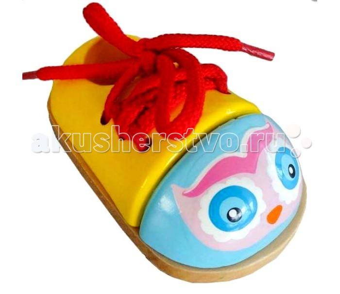 Деревянная игрушка Mapacha Шнуровка ботиночек Совенок/Совушка