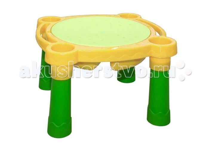 Palplay (Marian Plast) Столик-песочницаСтолик-песочницаИгровой пластиковый стол Marian Plast «Песок-Вода» — очень интересная модель стола-песочницы для детей от 3 лет. В центре стола имеется 2 углубления для песка и воды, по бокам — еще 4 небольших круглых отделения для мелких игрушек. За столом одновременно смогут играть сразу несколько малышей. При необходимости ножки стола легко снимаются, и его можно использовать как обыкновенную песочницу, разместив на траве или песке.  Игровой пластиковый стол-песочница Marian Plast «Песок-Вода» снабжен крышкой и изготовлен из прочного, нетоксичного пластика с соблюдением европейского стандарта качества и безопасности для детских товаров.  Размеры с ножками – 77 х 66 х 44 см Размеры без ножек (ШxДxВ) – 77 х 66 х 15 см Диаметр крышки — 56 см.<br>