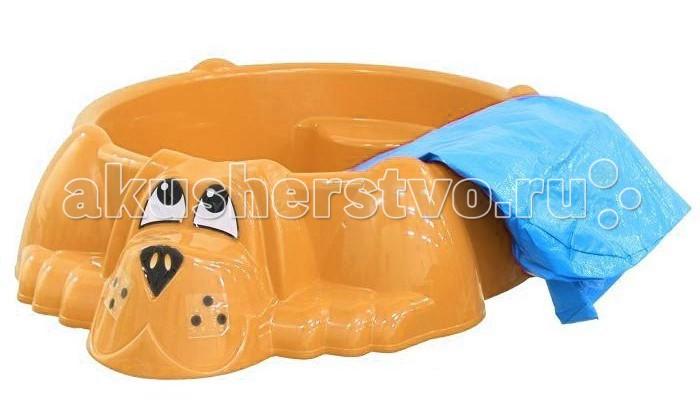 Песочница Marian Plast Бассейн Собачка + тентБассейн Собачка + тентЭта очаровательная собака украсит любой двор. Можно насыпать песок или налить воды. Прочный безопасный пластик. Широкие бортики. На специальном выступе малыш может посидеть.   Размеры : 115x92x25.  Вес:4 кг.  Внимание! Тент во всех расцветках голубой!<br>