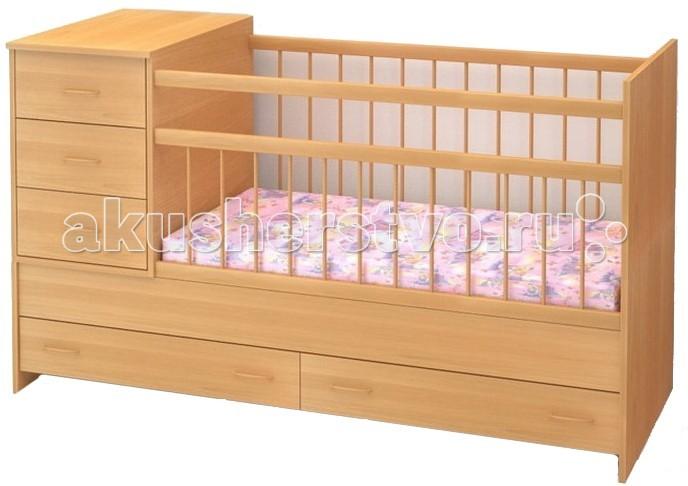 Кроватка-трансформер Бэби Бум МарусяМарусяКровать-трансформер Маруся – удобная и практичная кроватка.Конструкция кроватки Маруся предполагает наличие вместительных ящиков и комода для хранения детских вещей и спального белья, все хранится в непосредственной близости к малышу.   Кроватка оснащена ограждением из экологически чистого материала - берёзы, где переднее ограждение состоит из неподвижной, жёстко закреплённой части, и опускающегося верхнего сегмента с силиконовыми накладками.   Конструкция кроватки-трансформера предусматривает возможность установки тумбы как с правой стороны, так и с левой.   Особенности: • Тумба комод из 3-х выдвижных ящиков;  • Переднее ограждение состоит из неподвижной, жёстко закреплённой части, и опускающегося верхнего сегмента с силиконовыми накладками;  • Для хранения детских принадлежностей внизу есть два выдвижных ящика.  • Детская кровать со спальным местом 120х60 см;  • Подростковая кровать со спальным местом 160х60 см.  • Комод 40х60 см; • Размер кроватки - 165 х 65 х 100  Информация о габаритах предоставлена поставщиком.<br>